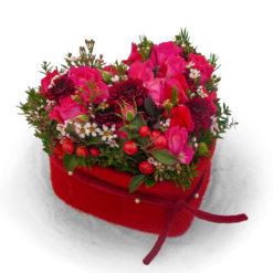 Rosenherz rot mit Filzmanschette von Blumen Weimar in Neu-Ulm - liegend